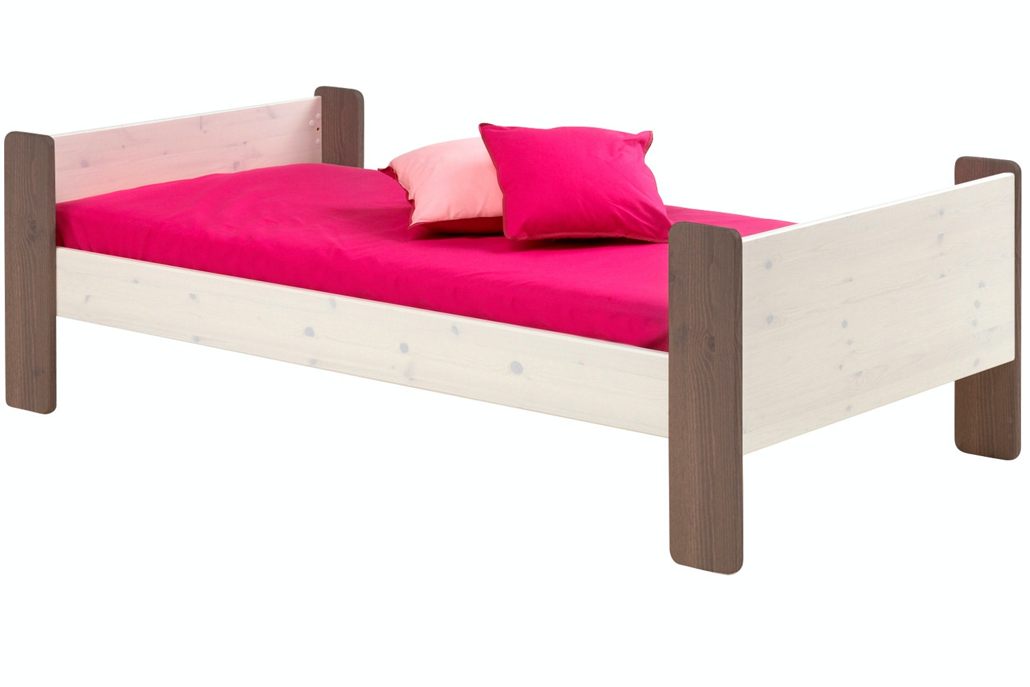 Popsicle Single Bed Frame White Wash & Stone