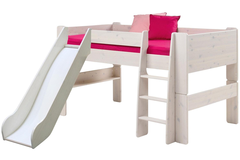 Midsleeper Bed Frame White Wash with Slide