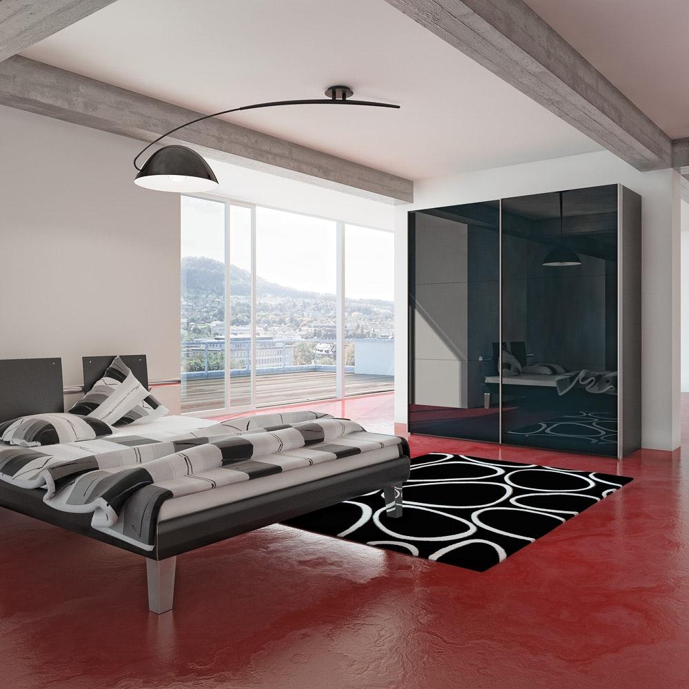 Jutzler Slideline Wardrobe | Black Glass