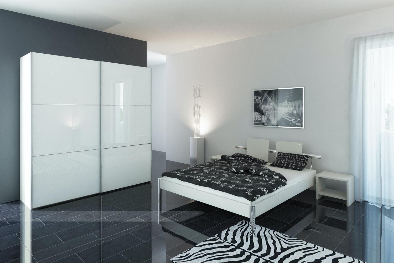 Jutzler Slideline Wardrobe   White Glass