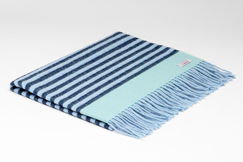 Baby Lambswool Blanket Navy & Sky