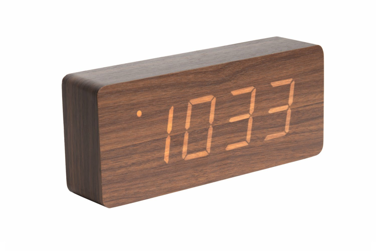 Alarm Clock Tube Dark Wood Veneer | White LED