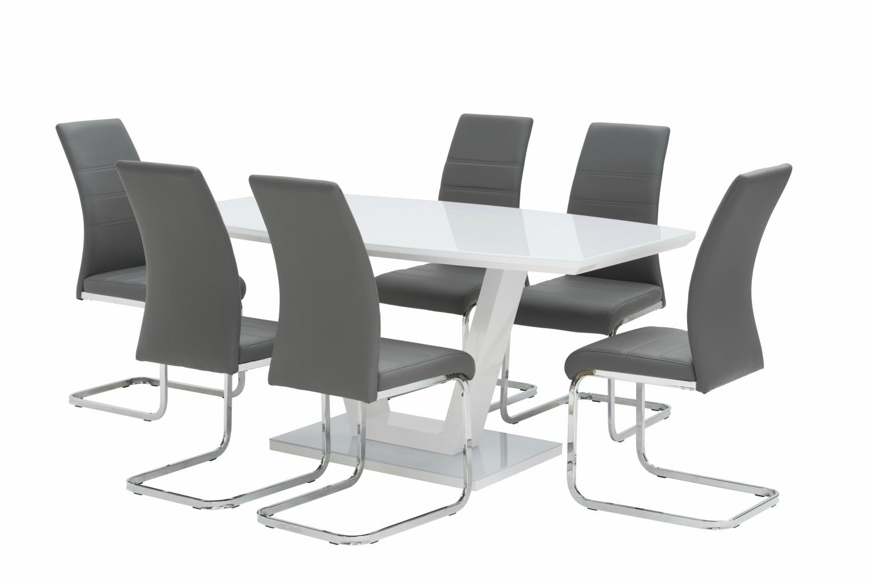 7 piece set oscar white with dawson chairs grey harvey norman ireland. Black Bedroom Furniture Sets. Home Design Ideas