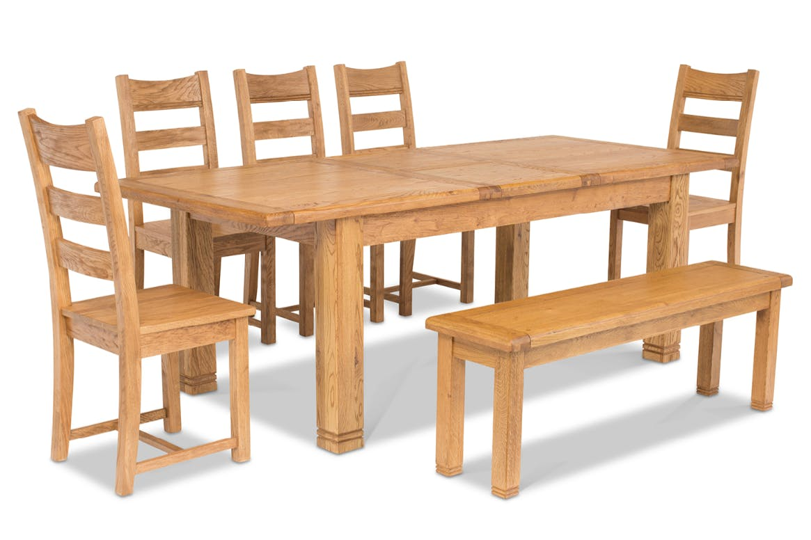 Peachy Dawn Dining Set With Bench 7 Piece Oak Alphanode Cool Chair Designs And Ideas Alphanodeonline