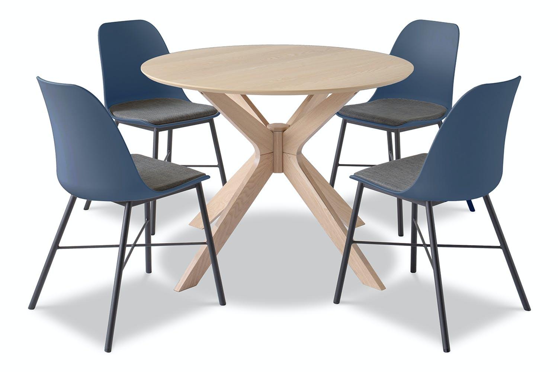 Alvar Round 5 Piece Dining Set Brynn Chairs Blue Harvey Norman Ireland
