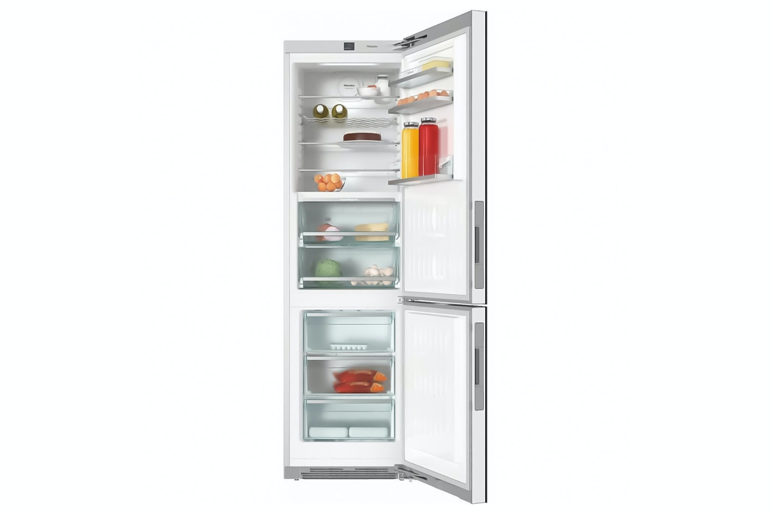 Miele KFN 29683 D obsw  XL freestanding fridge freezer   with exclusive glass front, PerfectFresh Pro and FlexiLight