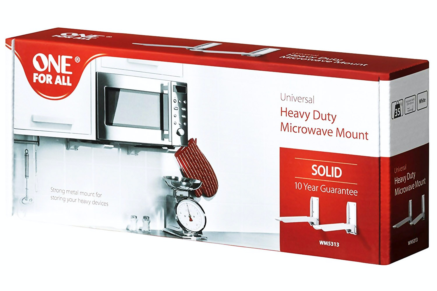 One For All Universal Heavy Duty Microwave Mount | White