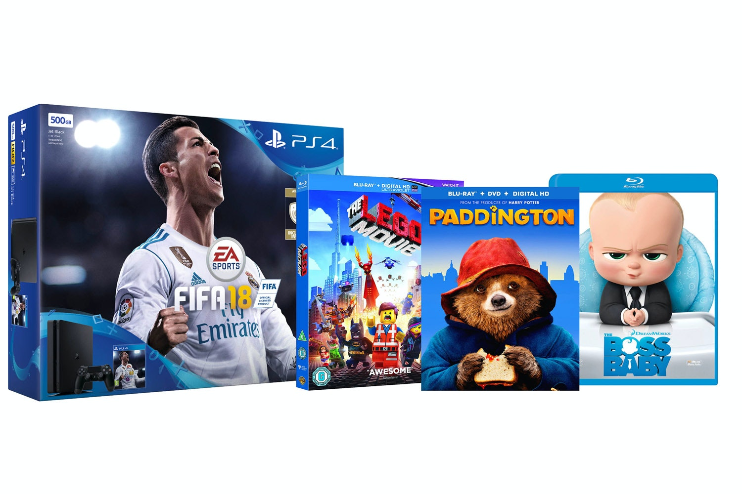 PS4 500GB FIFA 18 Family Bundle | Boss Baby, Paddington & Lego Movie