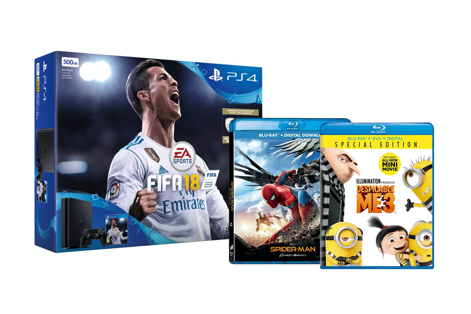 PS4 500GB FIFA 18 Action Bundle | Spiderman: Homecoming & Despicable Me 3