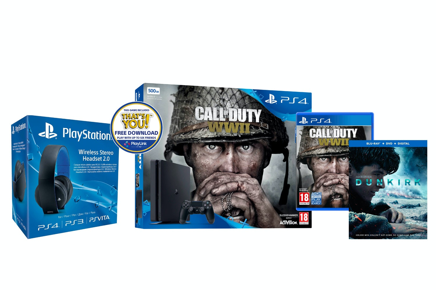PS4 500GB War Bundle | Call Of Duty WWII, Dunkirk & Wireless headset