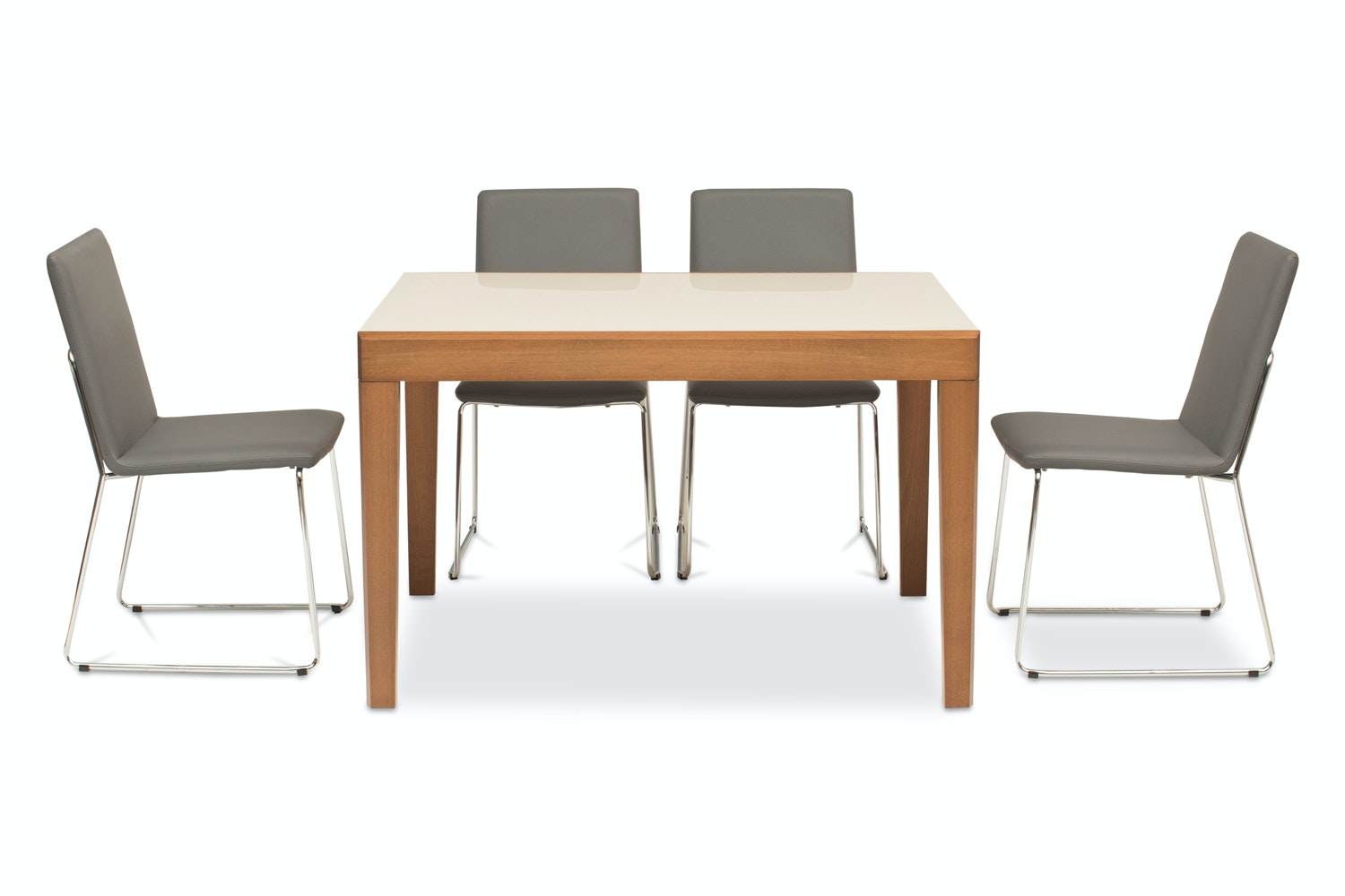 Asso Dining Table with 4 Luna Chairs | Grey