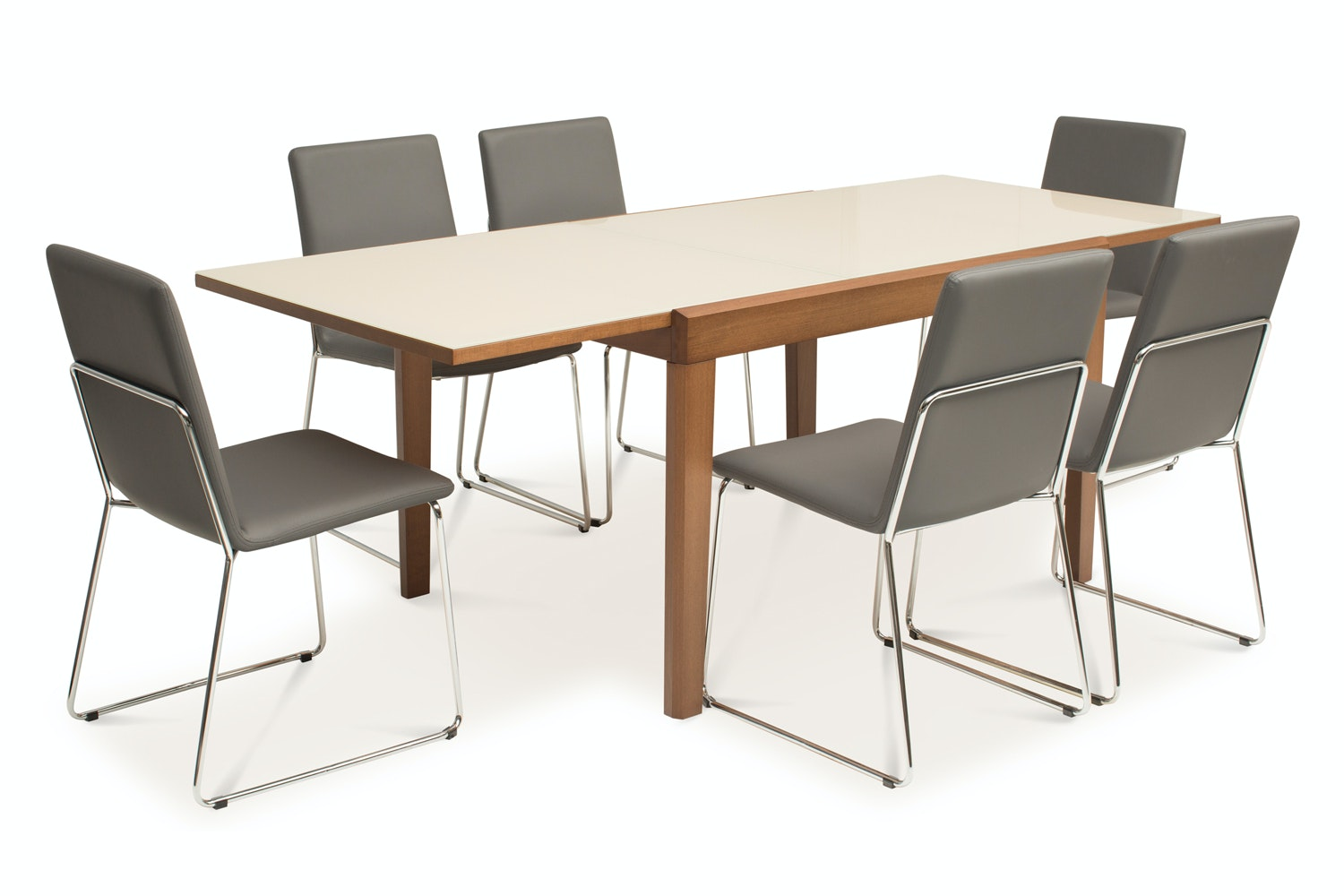 Asso Dining Table with 6 Luna Chairs | Grey