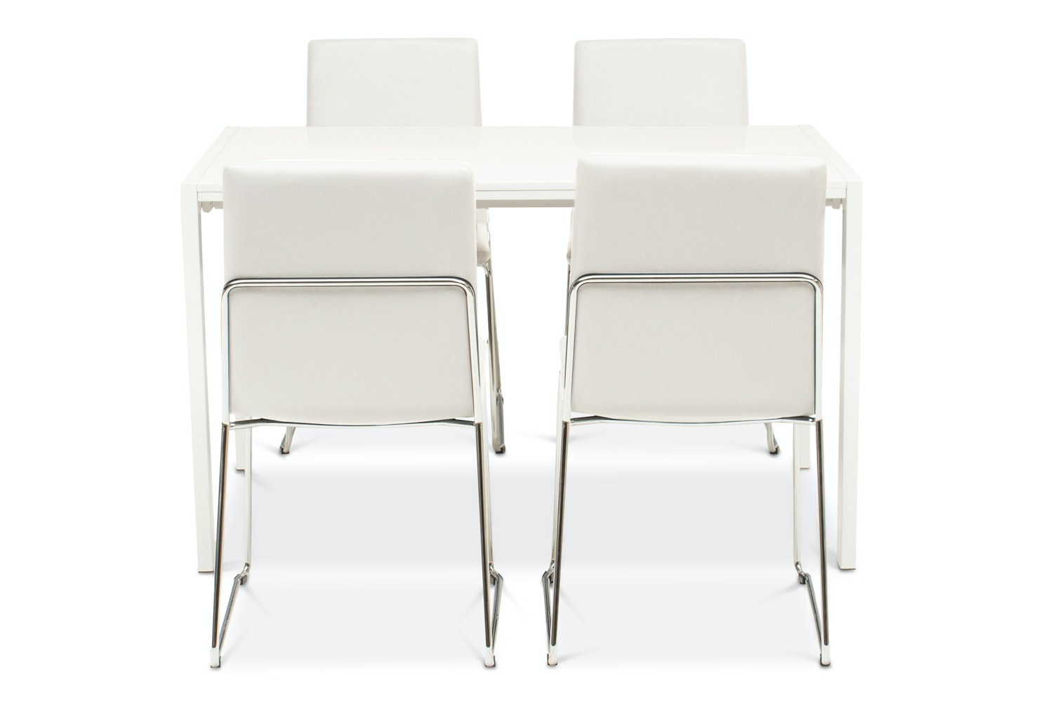 Bristol Dining Table with 4 Luna Chairs | White