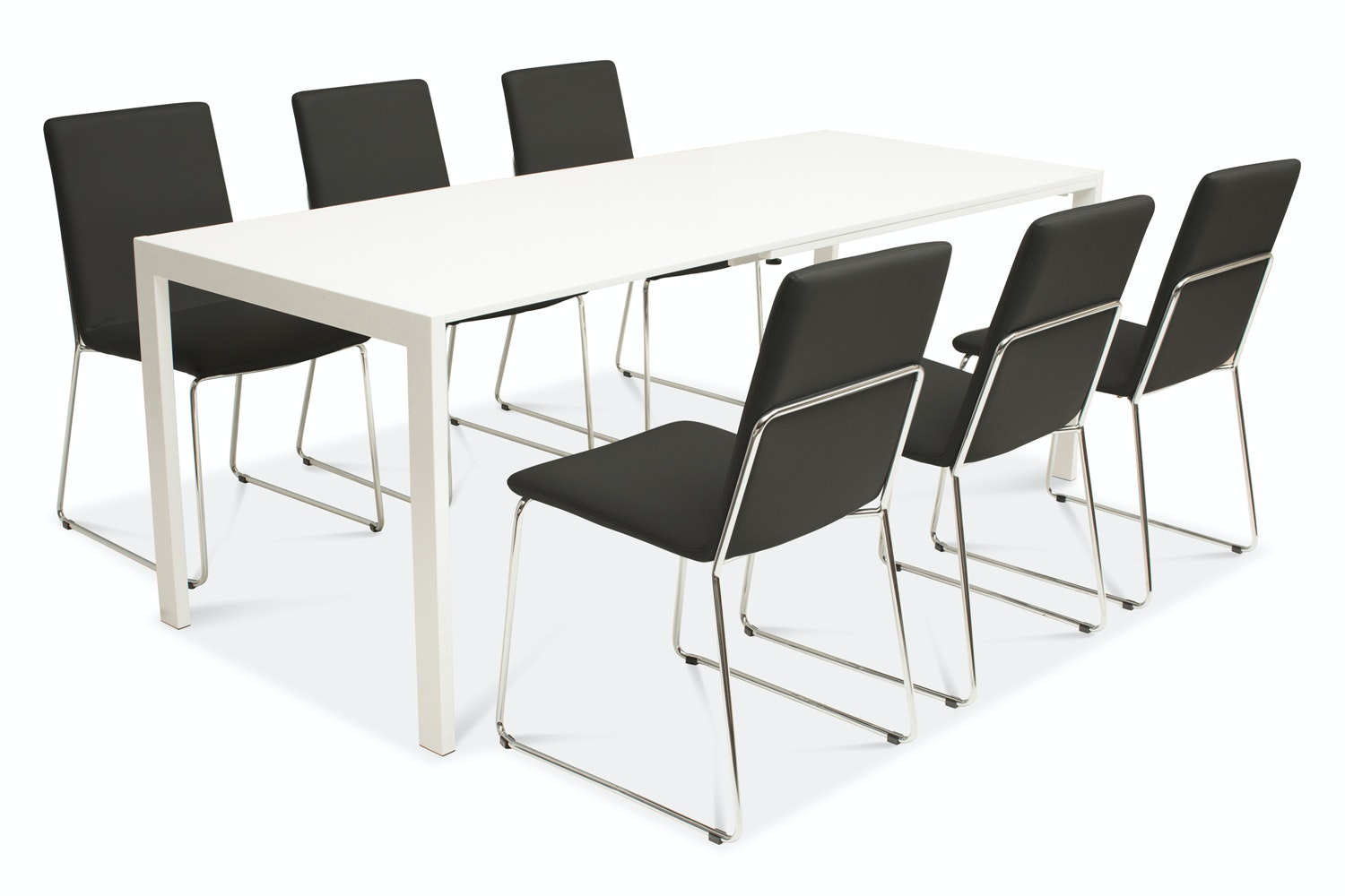 Bristol Dining Table with 6 Luna Chairs | Black