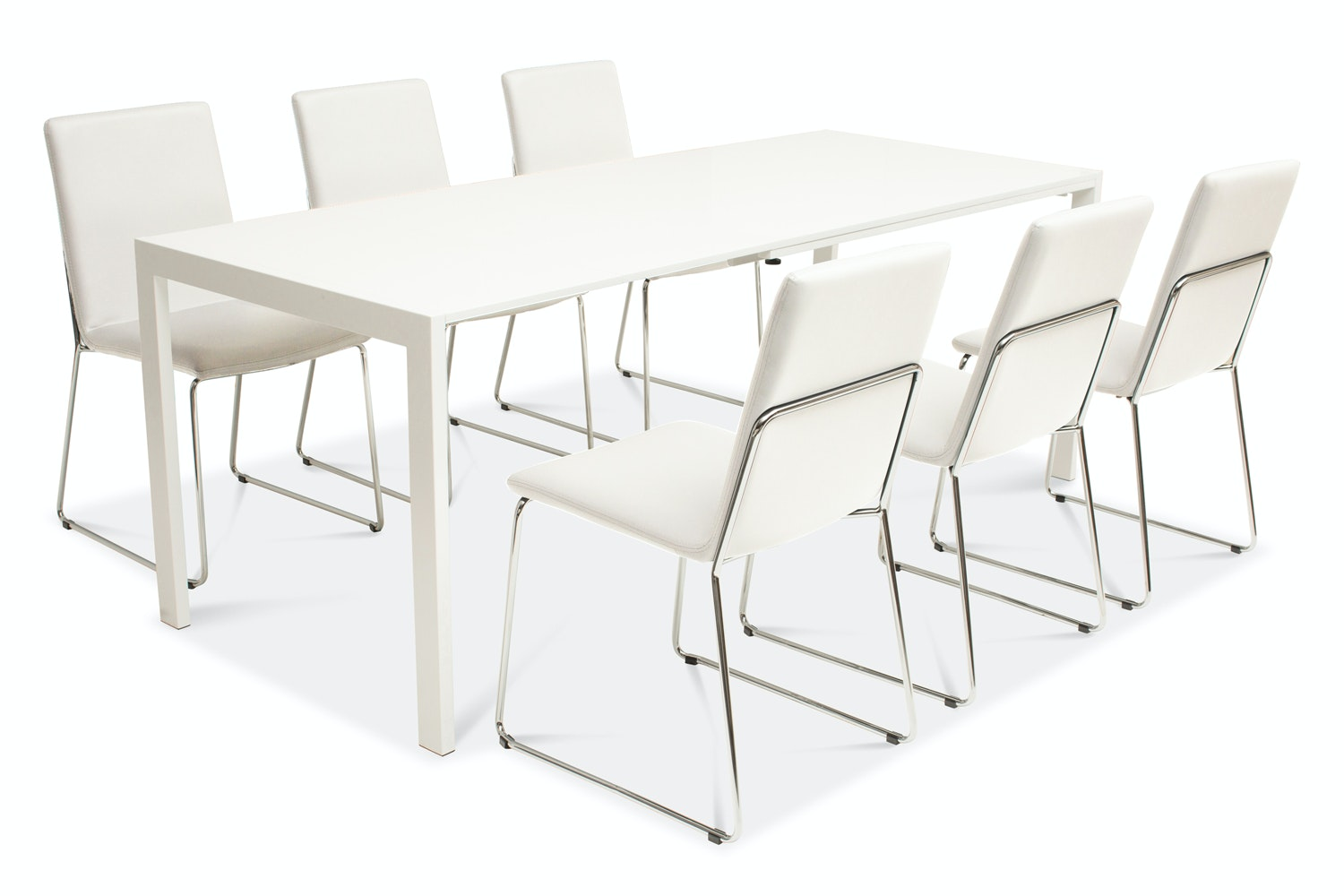 Bristol Dining Table with 6 Luna Chairs | White