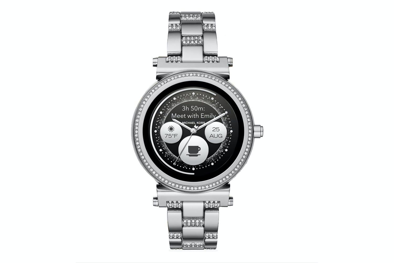 a8716711cc14 Michael Kors Sofie Pavé Silver-Tone Smartwatch