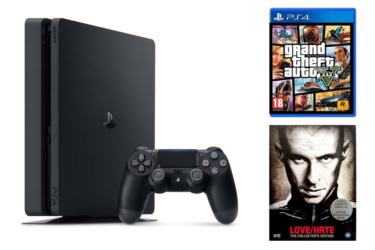 PS4 500GB Slim | GTA V & Love Hate Bundle