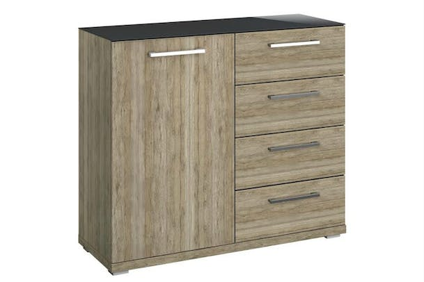 Saal 1 Door 4 Drawer Chest | Sanoma & Glass | Basalt