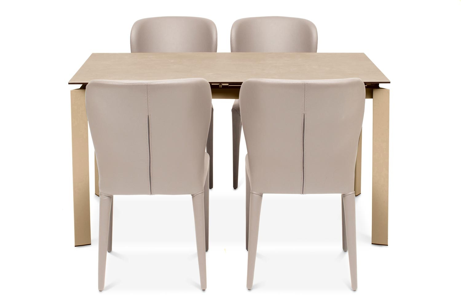 Callisto Dining Table Light with 4 Aletta Chairs | Taupe