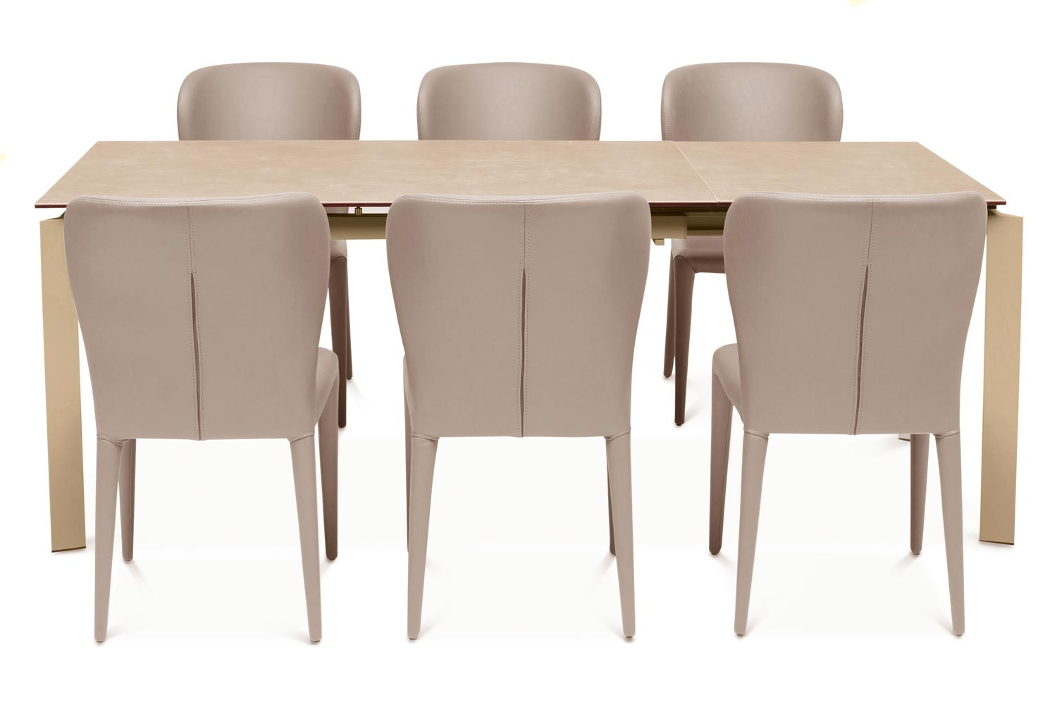 Callisto Dining Table Light with 6 Aletta Chairs | Taupe