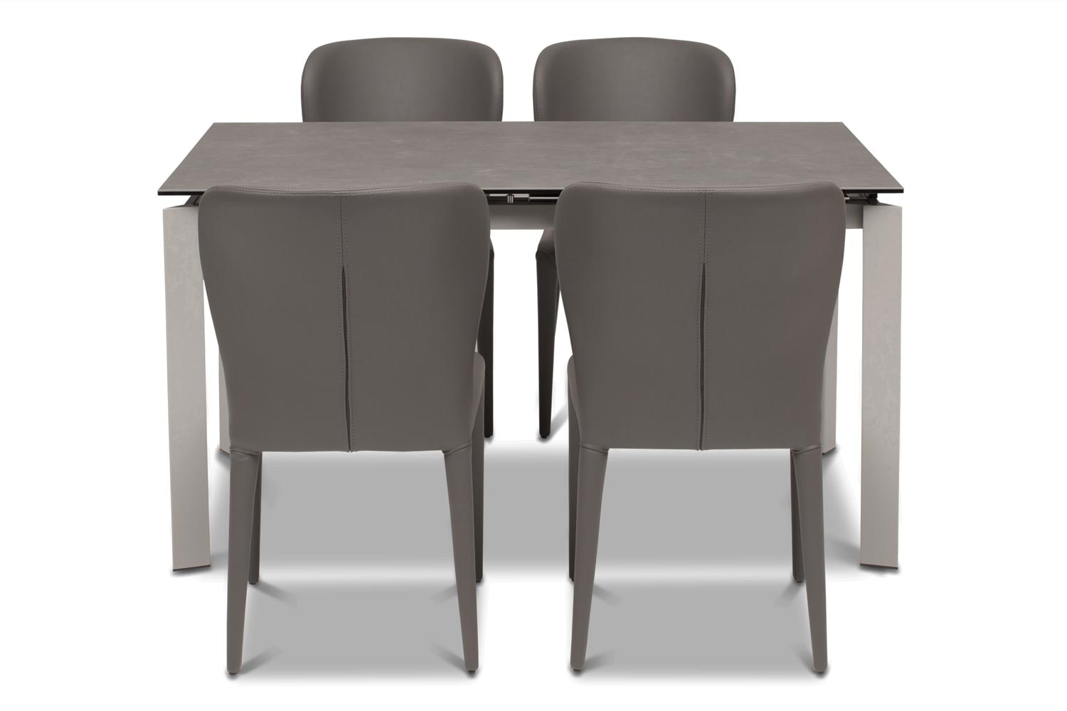 Callisto Dining Table Dark with 4 Aletta Chairs | Dark Grey