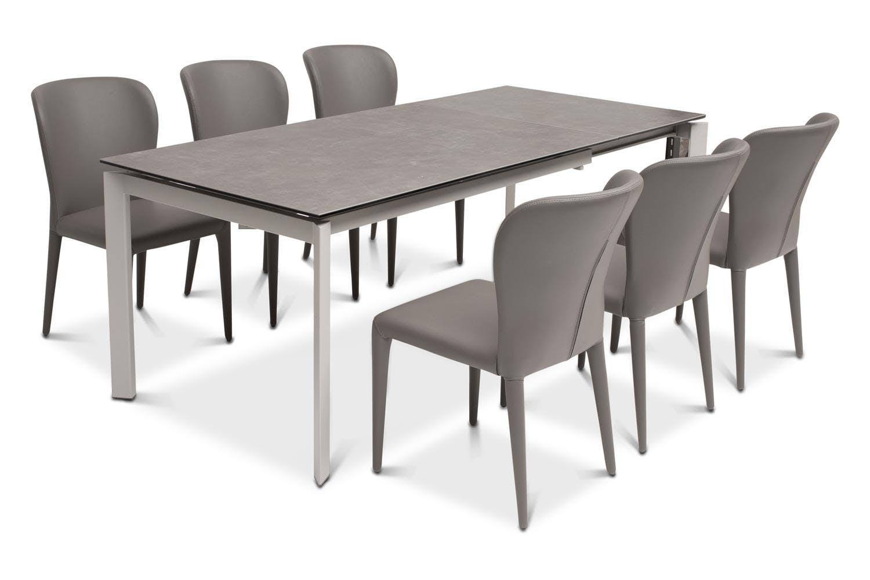callisto dining table dark with 6 aletta chairs dark grey ireland. Black Bedroom Furniture Sets. Home Design Ideas