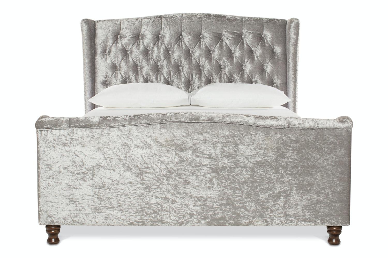 Hayfield Bed Frame | 5Ft | Silver Crushed Velvet