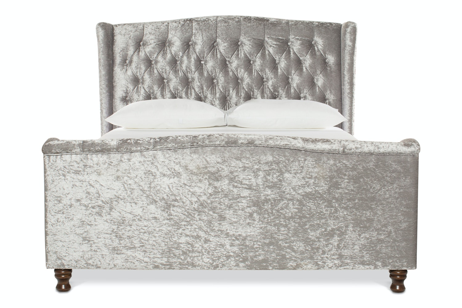Hayfield Bed Frame | 5Ft | Silver Crushed Velvet