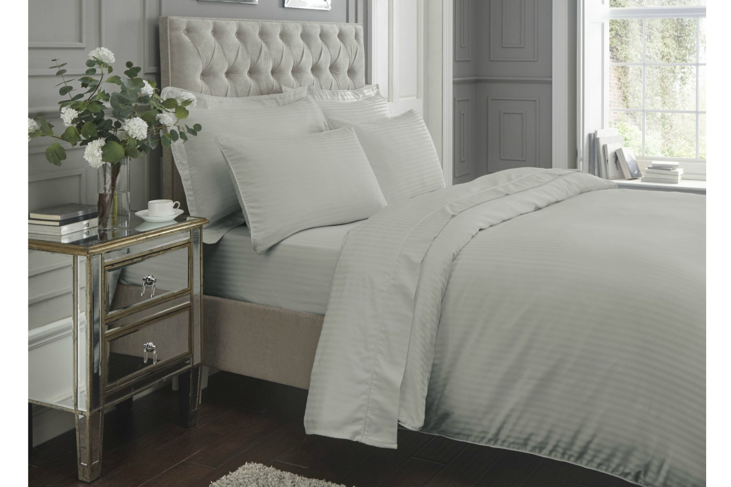 300 Thread Count Satin Stripe Duvet cover | Double | Grey