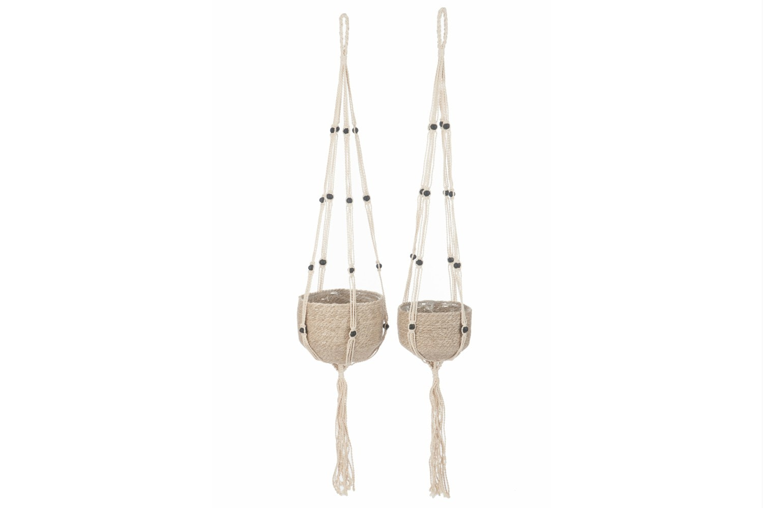 Set Of Hanging Flowerpots in Natural Jute