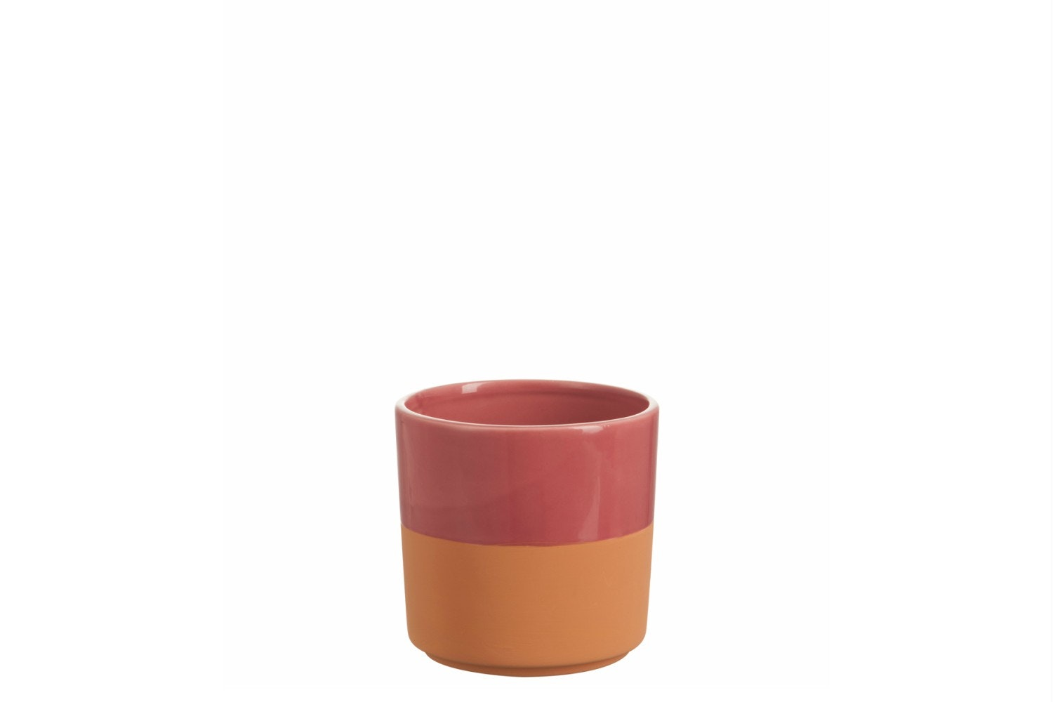 Ceramic Cachepot Round Border in Red | Medium