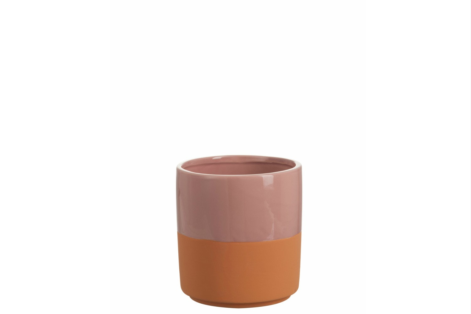 Ceramic Cachepot Round Border in Pink | Large