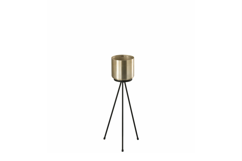 Metal Flowerpot Stand   Black & Gold   Small