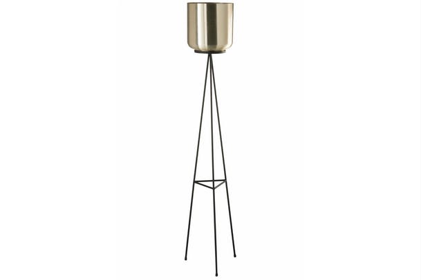 Metal Flowerpot Stand | Black & Gold | Large
