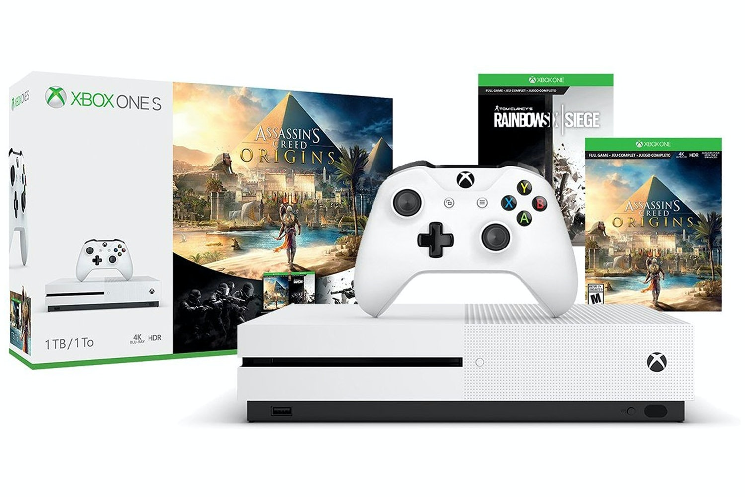 Xbox One S | 1TB with Assassin's Creed Origins & Rainbow 6 Siege