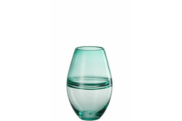 Vase Stripe Glass | Green | Medium