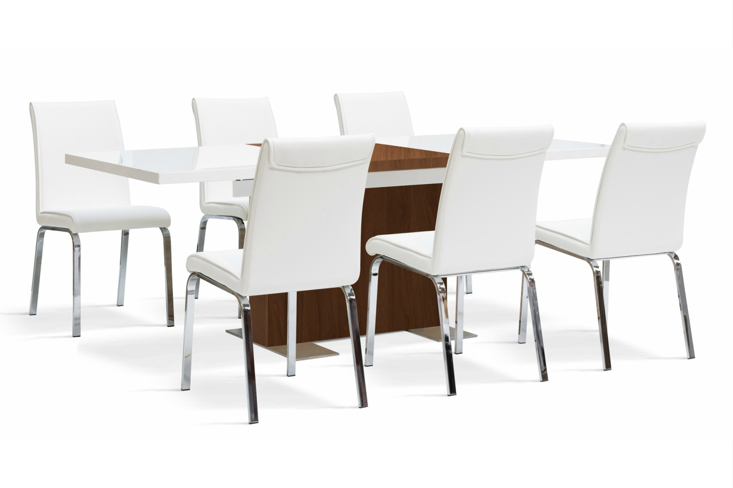 Lennox Walnut 7 Piece Set With Leonora White Chairs