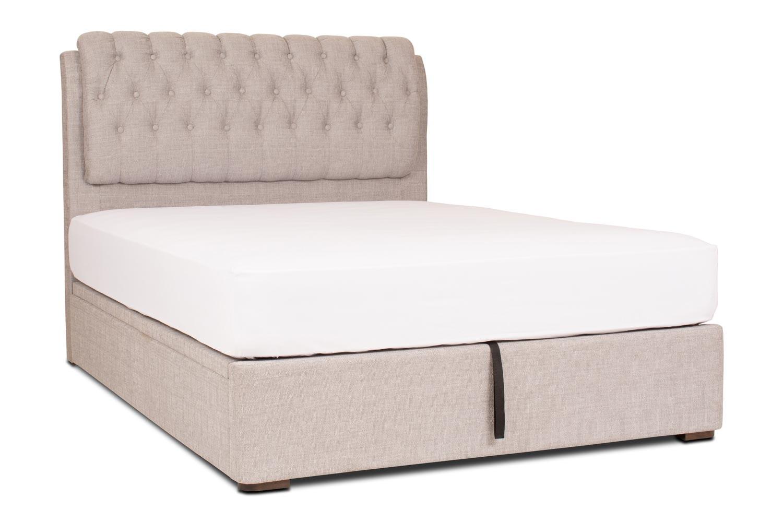 Duval Ottoman Bed with Regency Headboard   6Ft   Grey