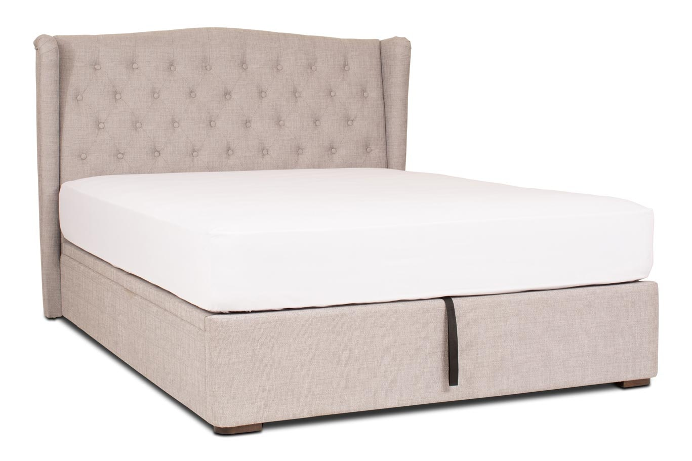 Duval Ottoman Bed with Winged Headboard | 4Ft6 | Grey