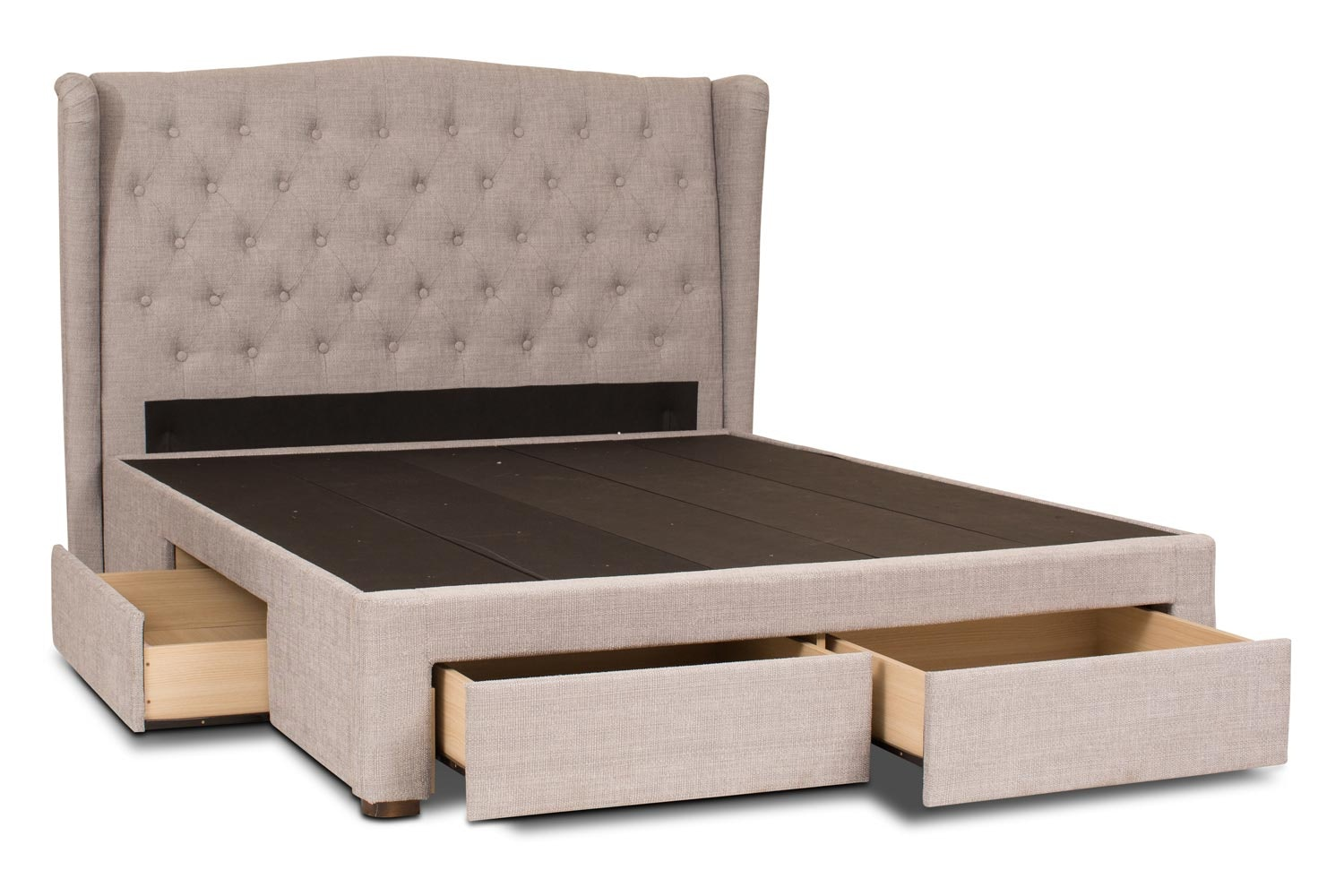 Duval Storage Bed with Winged Headboard   5Ft   Grey