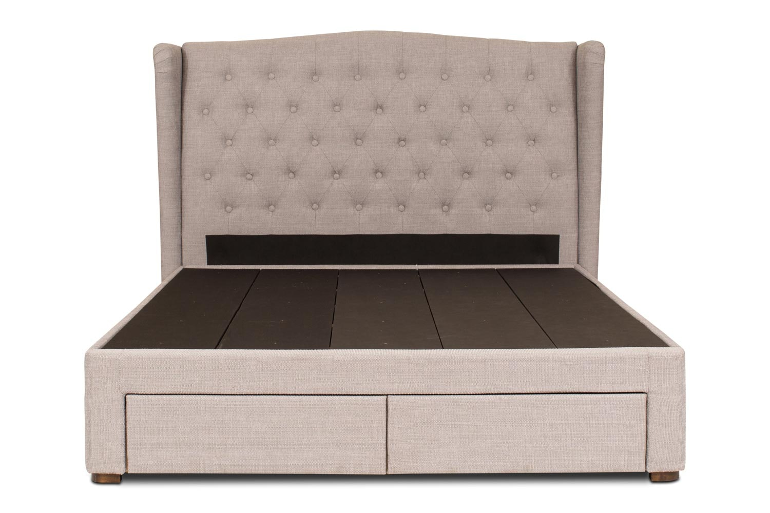 Duval Storage Bed with Winged Headboard | 5Ft | Grey