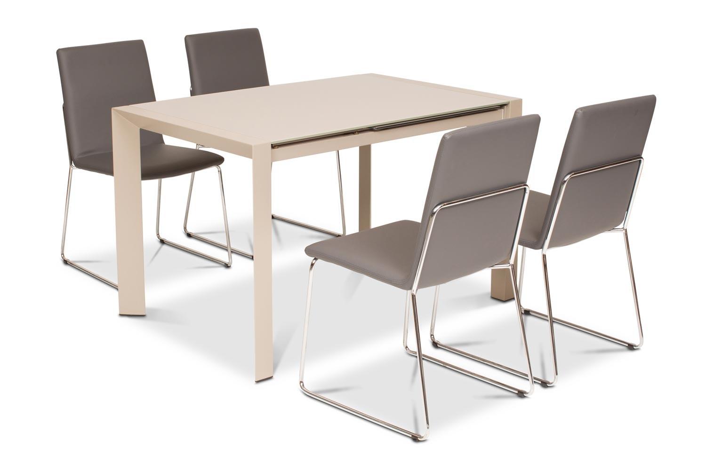 Slide 5 Piece Dining Set   Luna Dining Chairs Grey