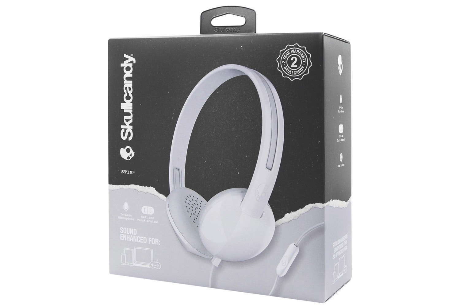 Skullcandy Stim On Ear Headphones | White & Grey