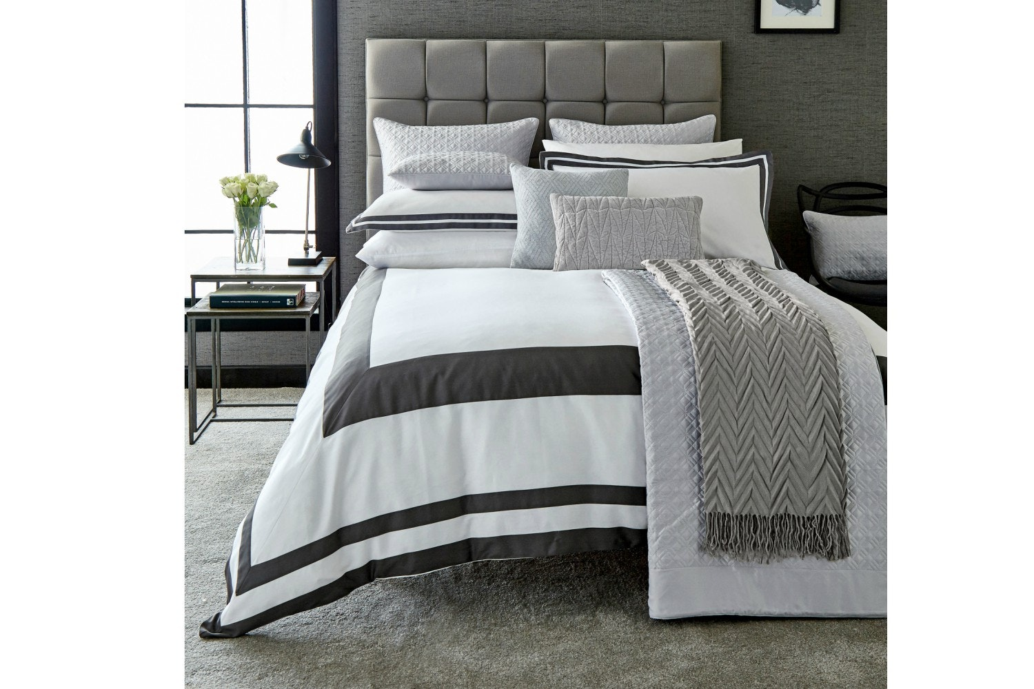 Imperial Graphite & White Duvet Cover | Super King