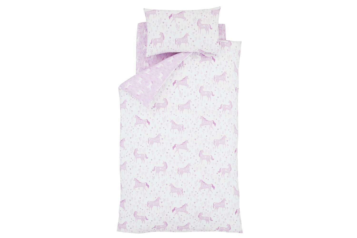 Folk Pink Unicorn Junior Duvet Set