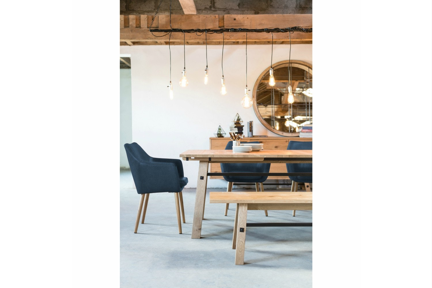 Stockholm 5-Piece Dining Set With Blue Chairs