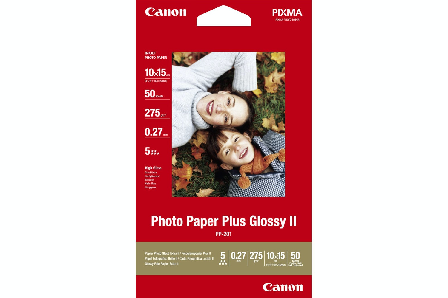 "Canon PP-201 4 x 6"" Photo Paper Plus Glossy II 