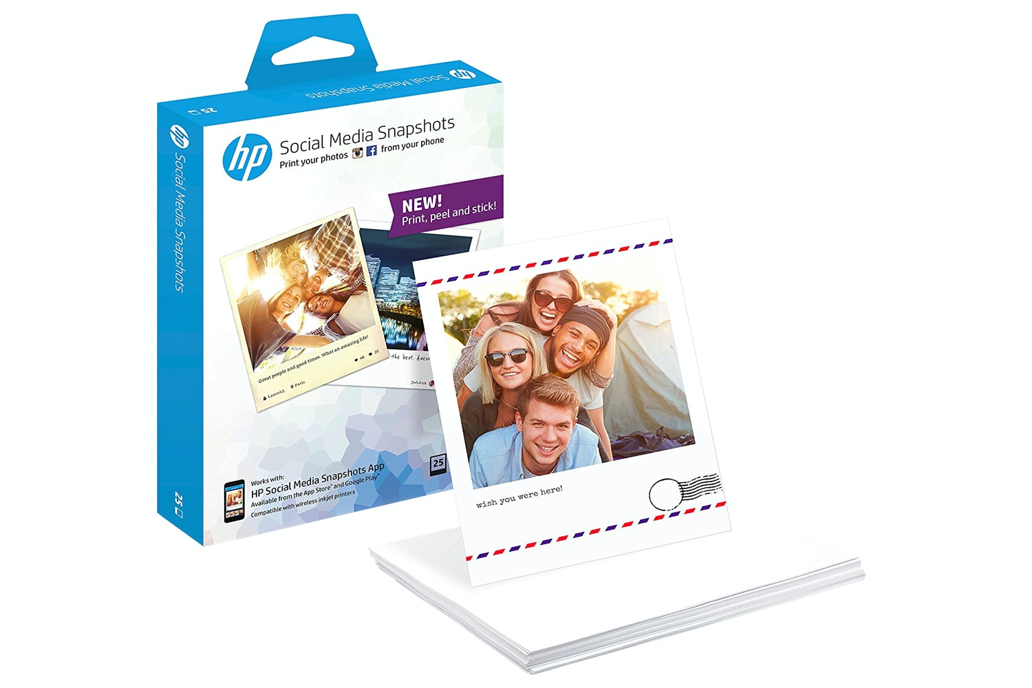 HP W2G60A Social Media Snapshots Photo Paper | 25 Sheets