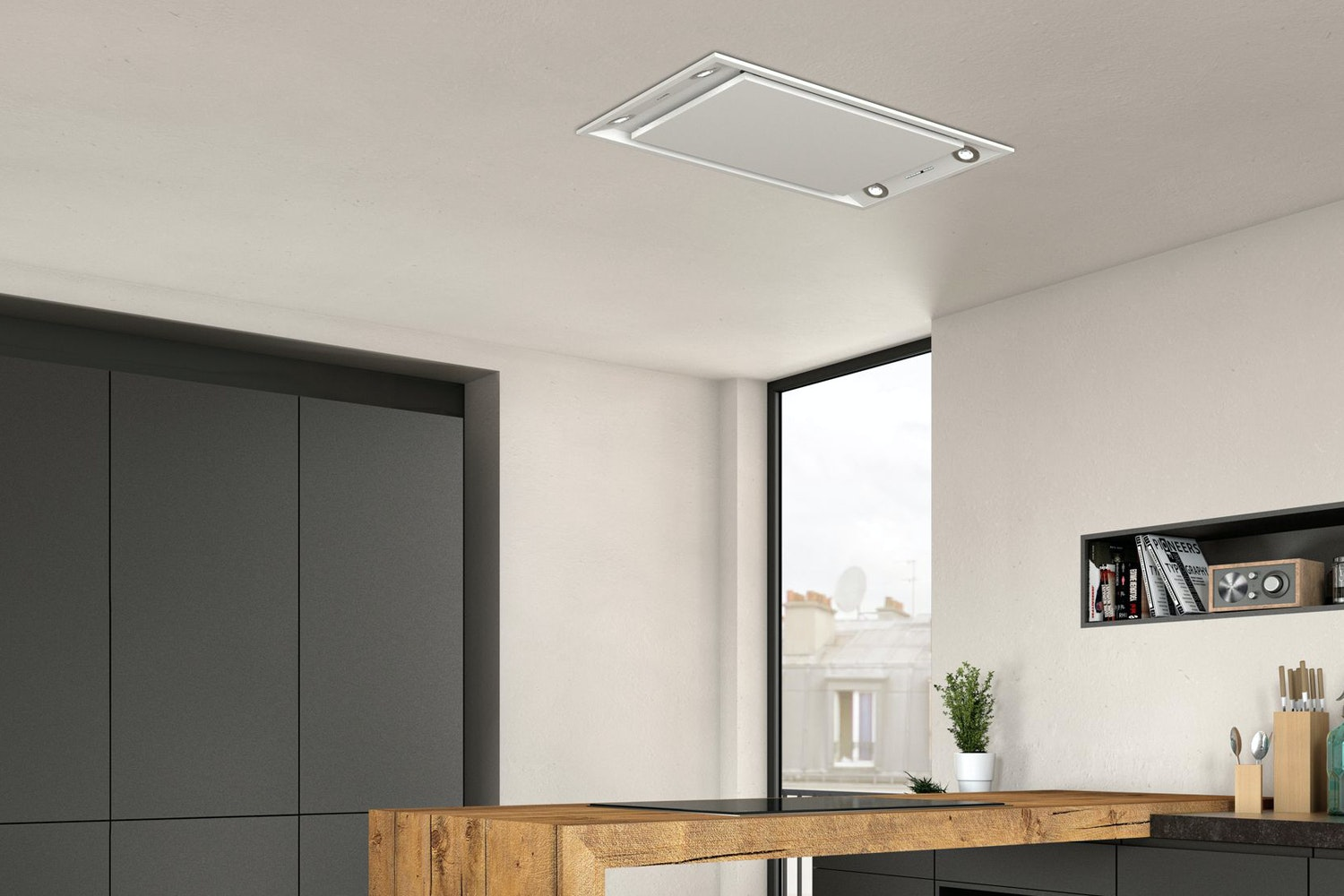 Neff 90cm Ceiling Chimney Hood | I99C68W1GB