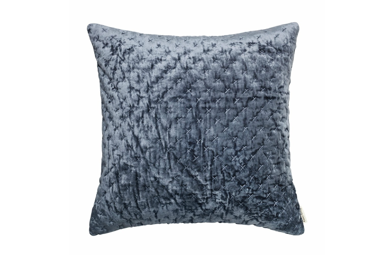 Velvet Embroidered Luxe Cushion   Ocean